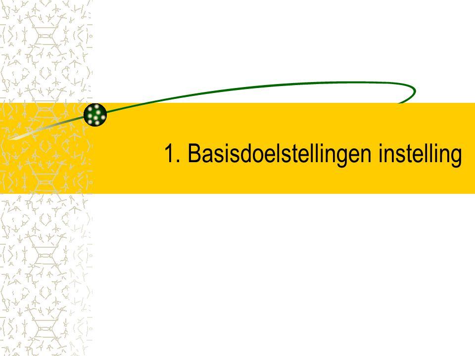 1. Basisdoelstellingen instelling