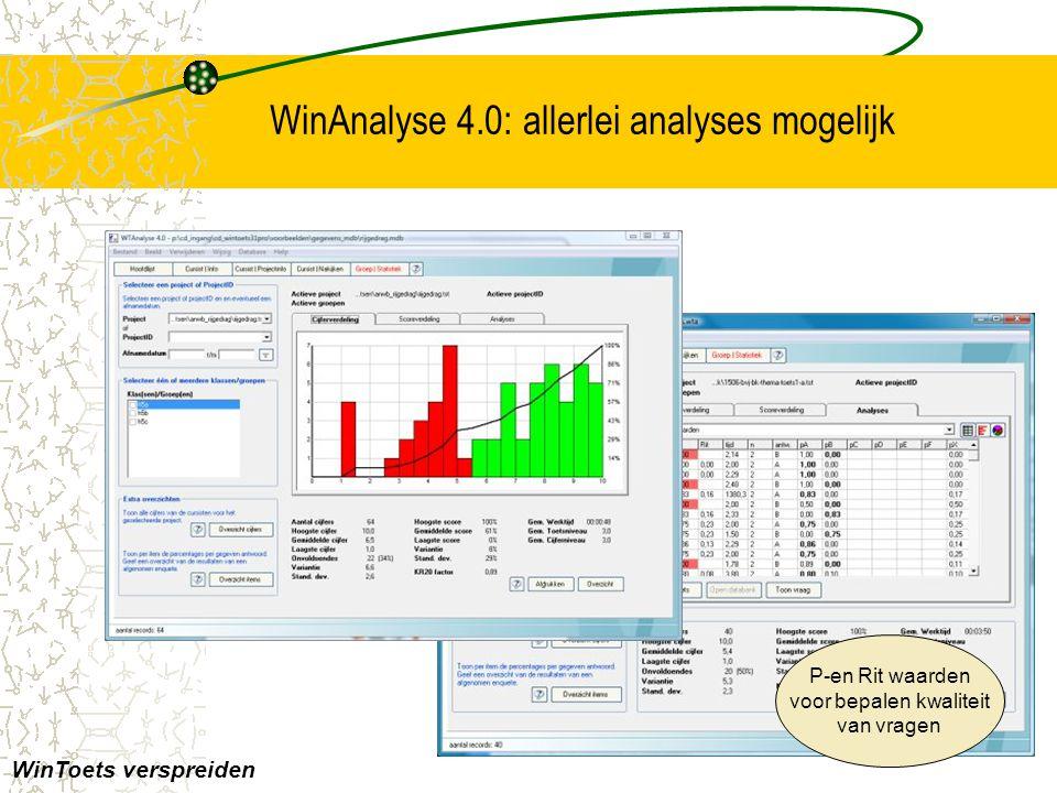 WinAnalyse 4.0: allerlei analyses mogelijk WinToets verspreiden P-en Rit waarden voor bepalen kwaliteit van vragen