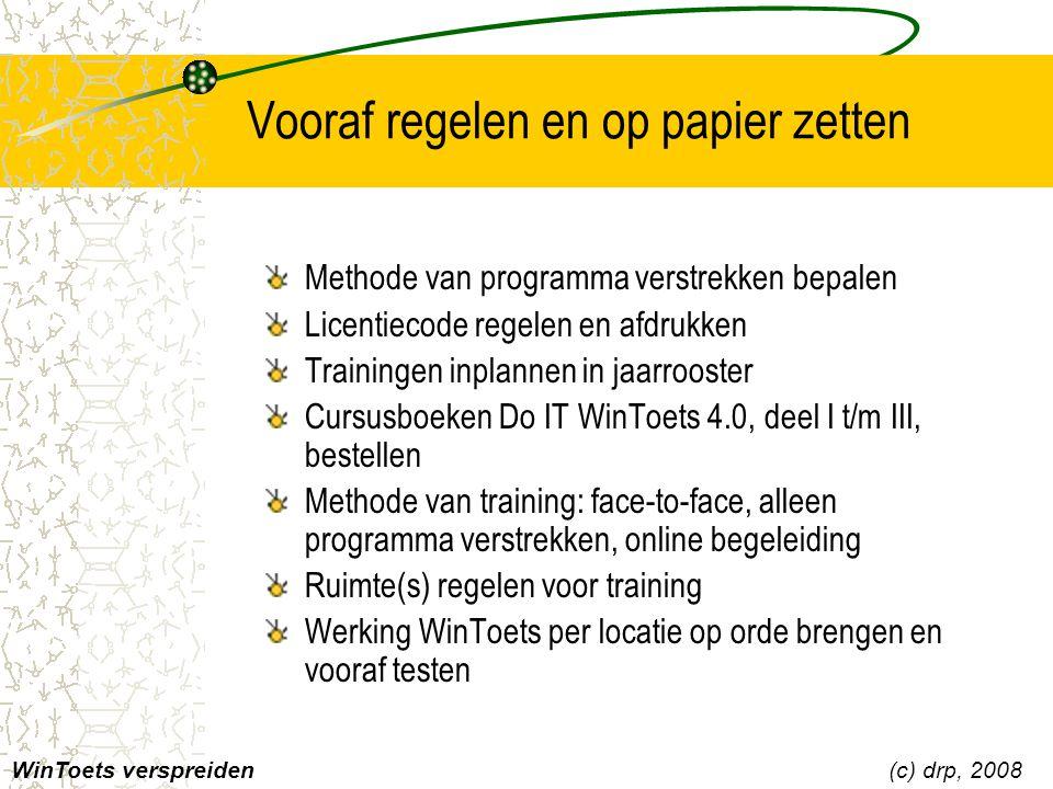 Vooraf regelen en op papier zetten Methode van programma verstrekken bepalen Licentiecode regelen en afdrukken Trainingen inplannen in jaarrooster Cur