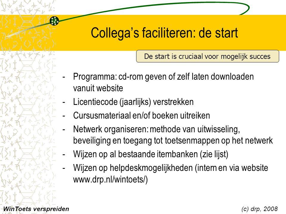 Collega's faciliteren: de start WinToets verspreiden(c) drp, 2008 -Programma: cd-rom geven of zelf laten downloaden vanuit website -Licentiecode (jaar