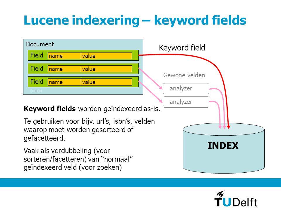 Lucene indexering – Analyzer Analyzer …… Tokenizer Filter text uit Field naar index Analyzer: soms afwezig (bij keyword fields) Tokenizer: splitst in woorden (leestekens, samengestelde woorden etc.