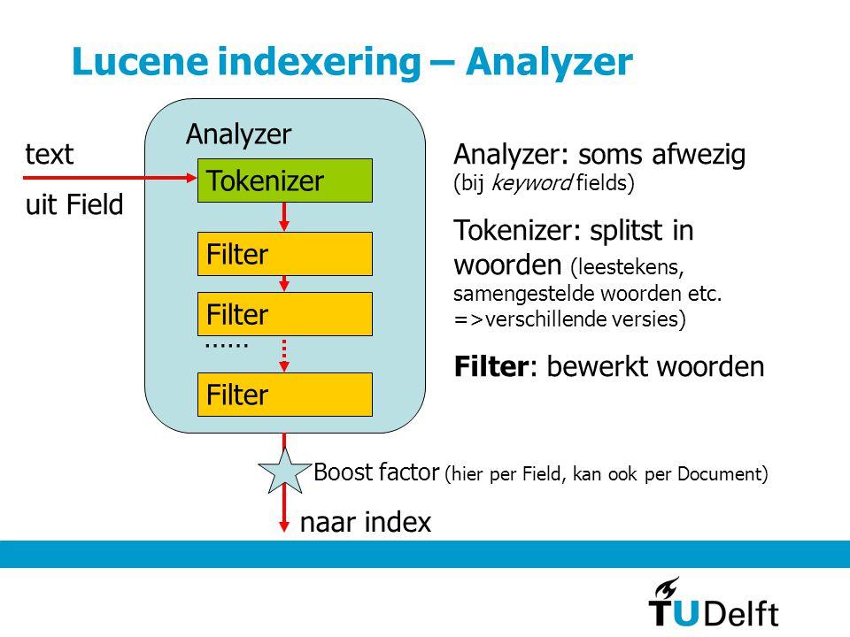 Lucene indexering/analyzer – Filter Filter bewerkt losse woorden Bijv.