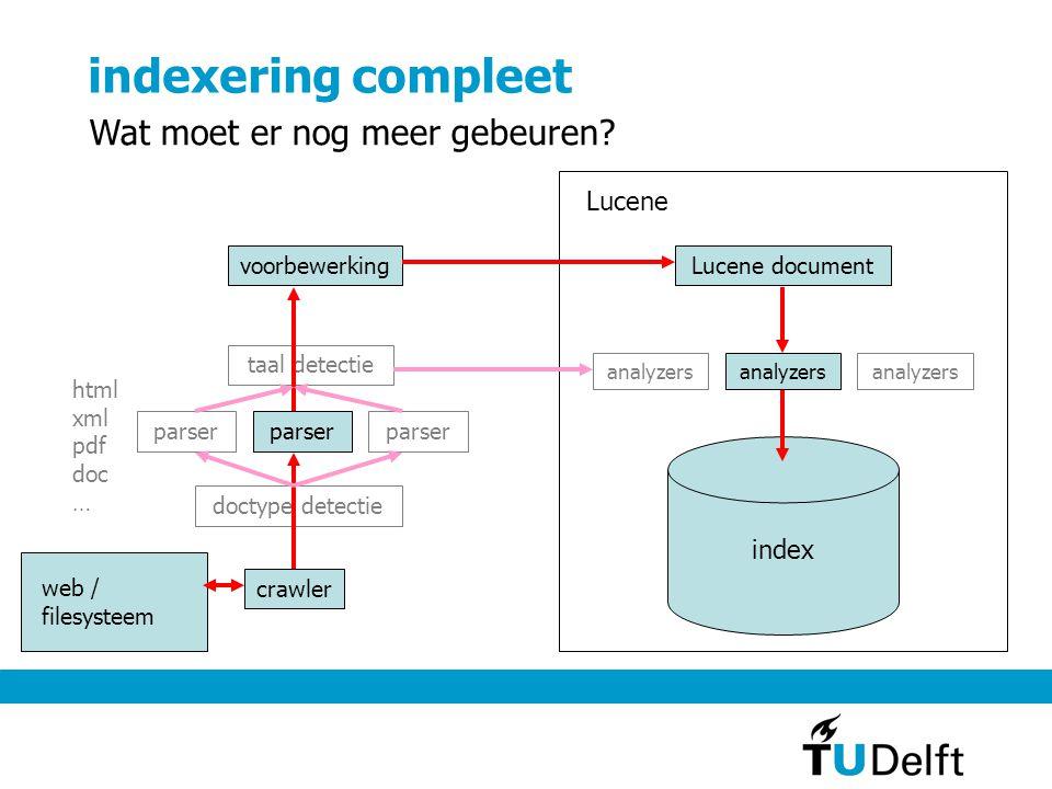 indexering compleet crawler doctype detectie parser taal detectie Lucene document parser analyzers index voorbewerking analyzers html xml pdf doc … Lu