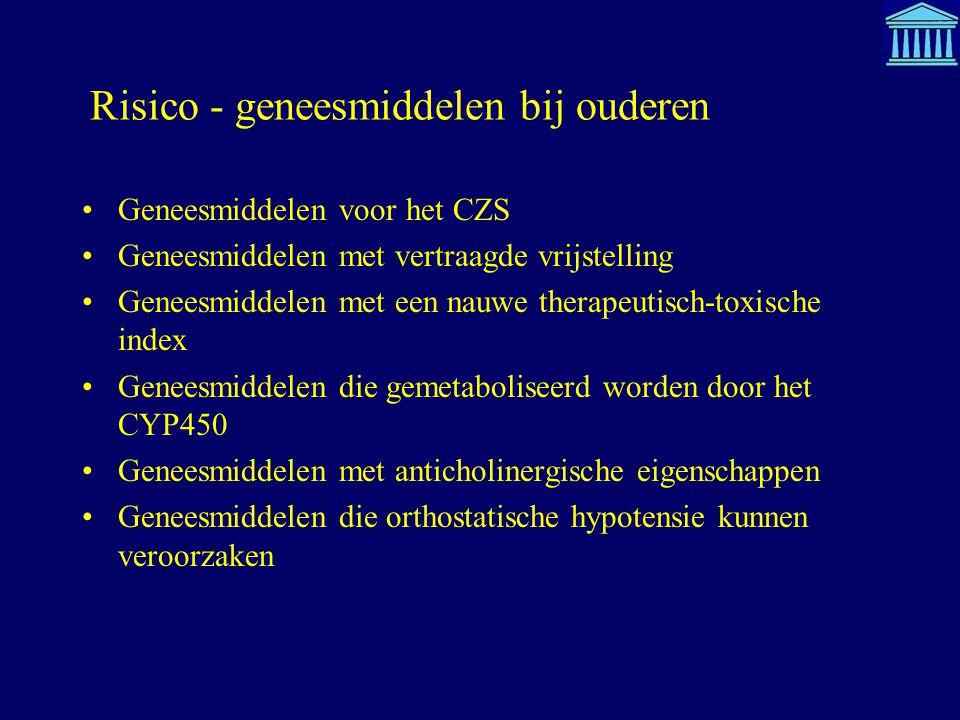 Risico - geneesmiddelen bij ouderen Geneesmiddelen voor het CZS Geneesmiddelen met vertraagde vrijstelling Geneesmiddelen met een nauwe therapeutisch-