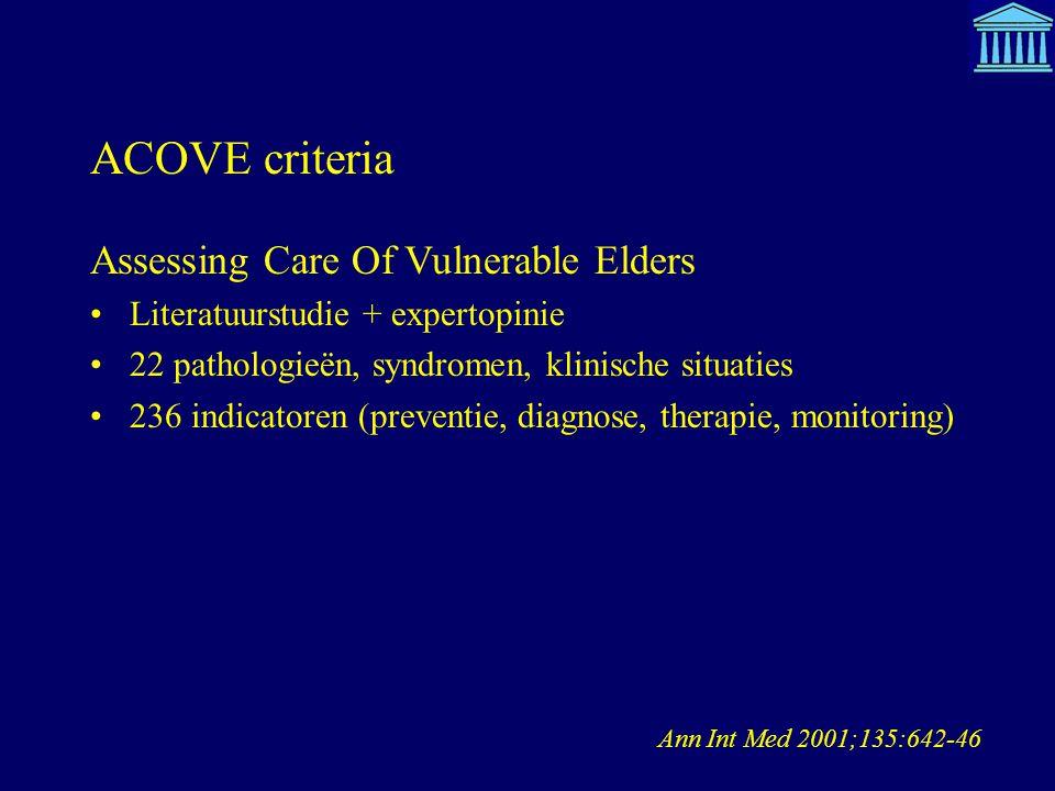 ACOVE criteria Ann Int Med 2001;135:642-46 Assessing Care Of Vulnerable Elders Literatuurstudie + expertopinie 22 pathologieën, syndromen, klinische s