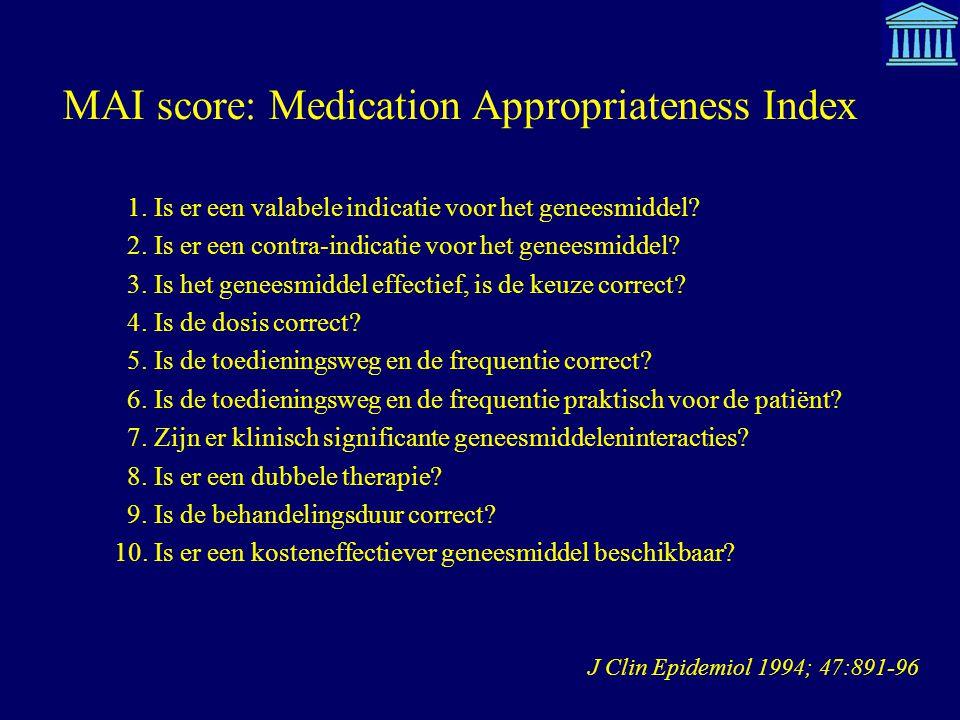 MAI score: Medication Appropriateness Index J Clin Epidemiol 1994; 47:891-96 1. Is er een valabele indicatie voor het geneesmiddel? 2. Is er een contr