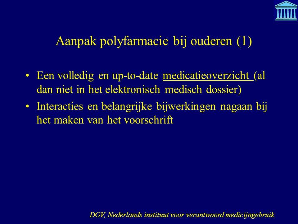 Aanpak polyfarmacie bij ouderen (1) Een volledig en up-to-date medicatieoverzicht (al dan niet in het elektronisch medisch dossier) Interacties en bel