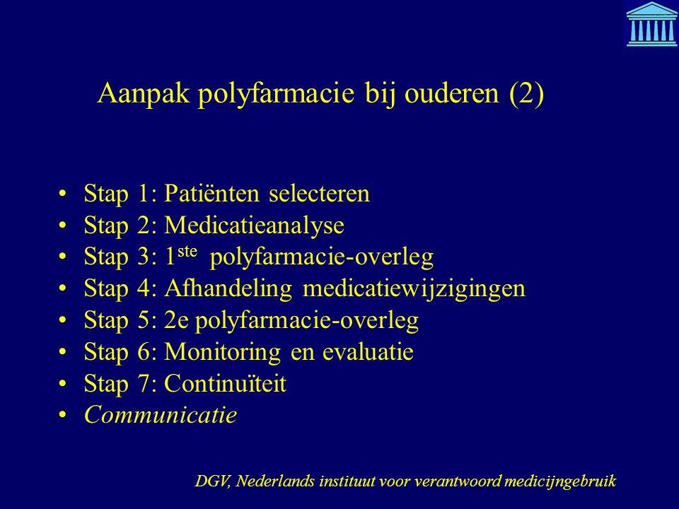 Aanpak polyfarmacie bij ouderen (2) Stap 1: Patiënten selecteren Stap 2: Medicatieanalyse Stap 3: 1 ste polyfarmacie-overleg Stap 4: Afhandeling medic