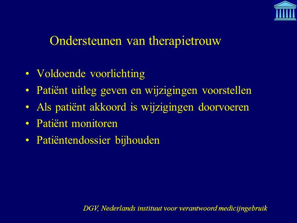 Ondersteunen van therapietrouw Voldoende voorlichting Patiënt uitleg geven en wijzigingen voorstellen Als patiënt akkoord is wijzigingen doorvoeren Pa