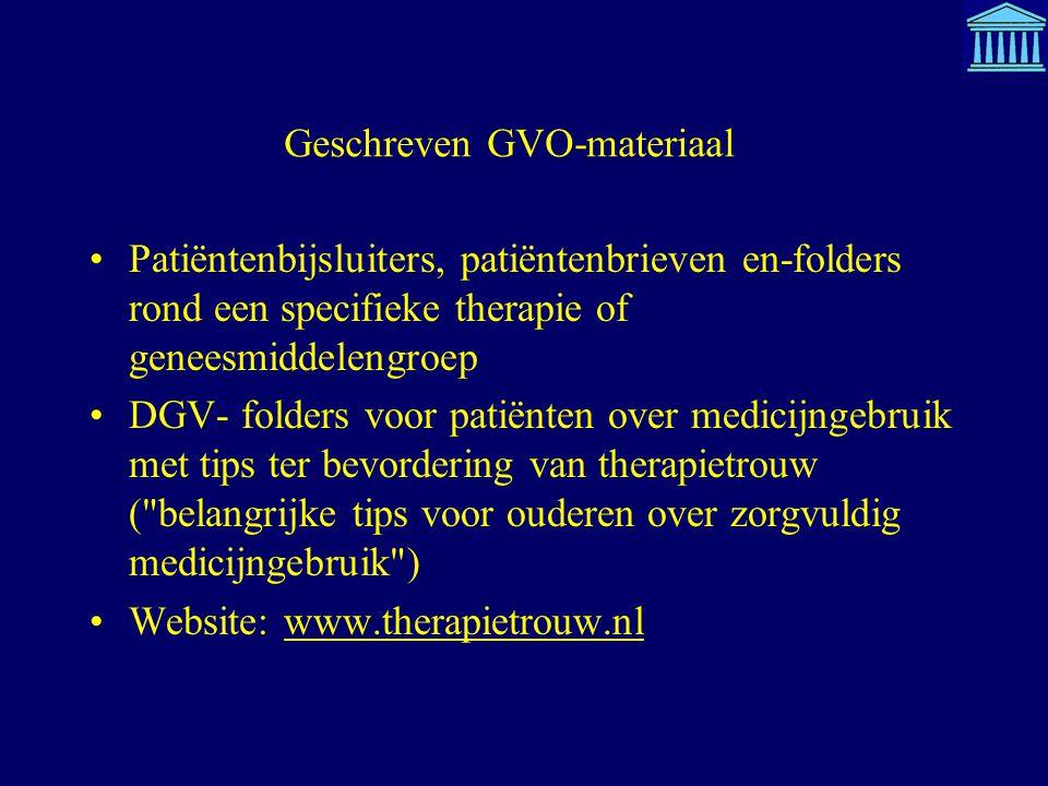 Geschreven GVO-materiaal Patiëntenbijsluiters, patiëntenbrieven en-folders rond een specifieke therapie of geneesmiddelengroep DGV- folders voor patië