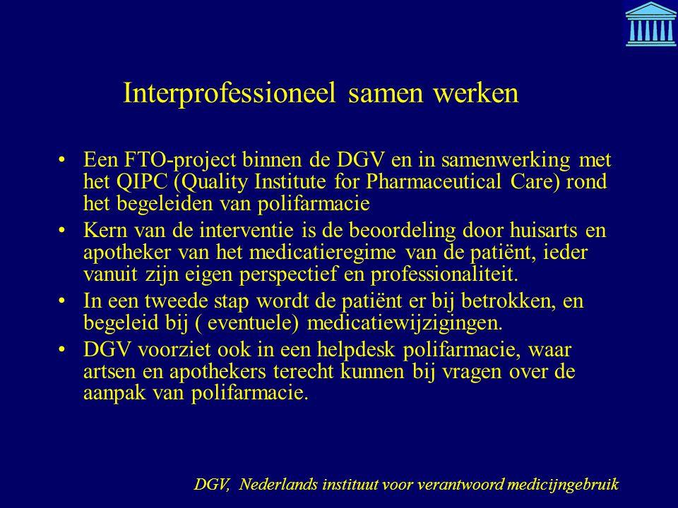 Interprofessioneel samen werken Een FTO-project binnen de DGV en in samenwerking met het QIPC (Quality Institute for Pharmaceutical Care) rond het beg