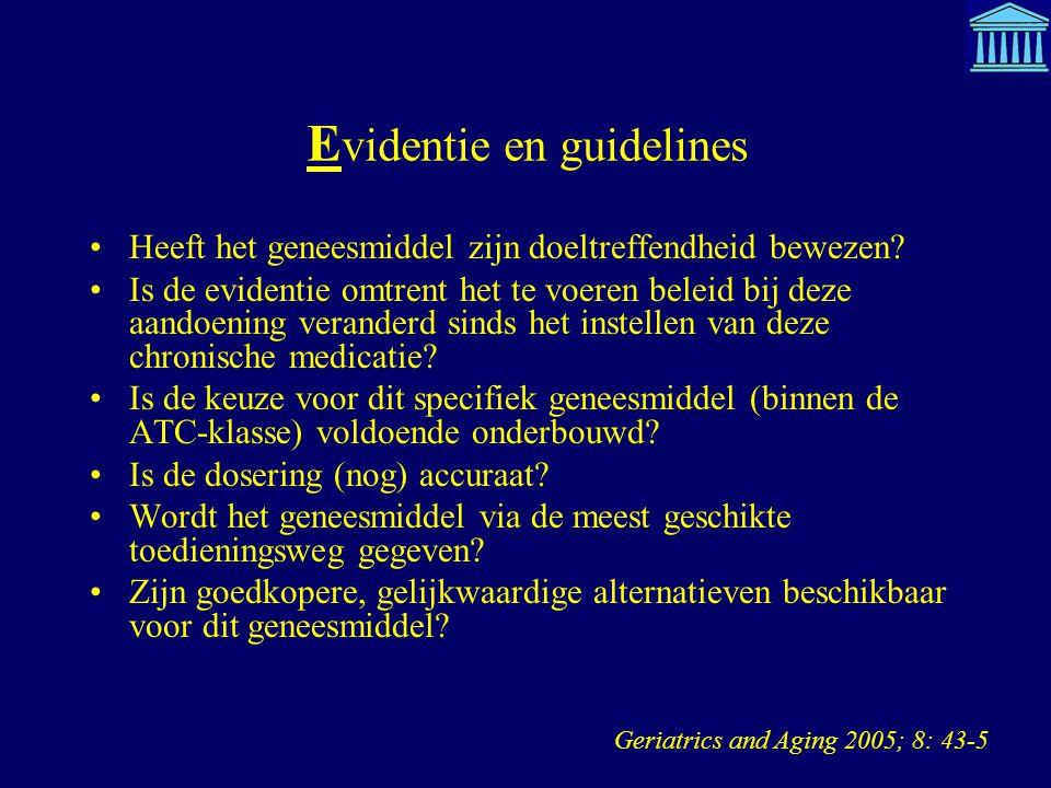 E videntie en guidelines Heeft het geneesmiddel zijn doeltreffendheid bewezen? Is de evidentie omtrent het te voeren beleid bij deze aandoening verand