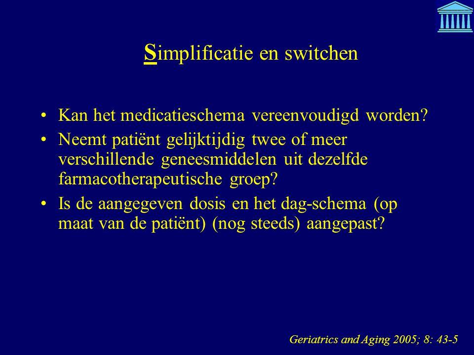 S implificatie en switchen Kan het medicatieschema vereenvoudigd worden? Neemt patiënt gelijktijdig twee of meer verschillende geneesmiddelen uit deze
