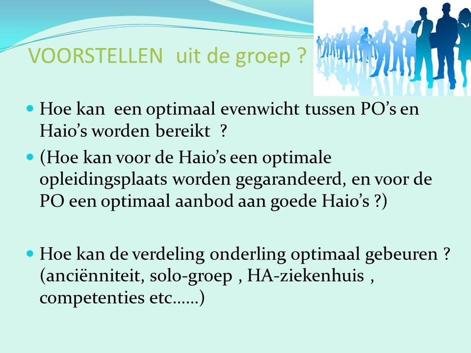 VOORSTELLEN uit de groep ? Hoe kan een optimaal evenwicht tussen PO's en Haio's worden bereikt ? (Hoe kan voor de Haio's een optimale opleidingsplaats