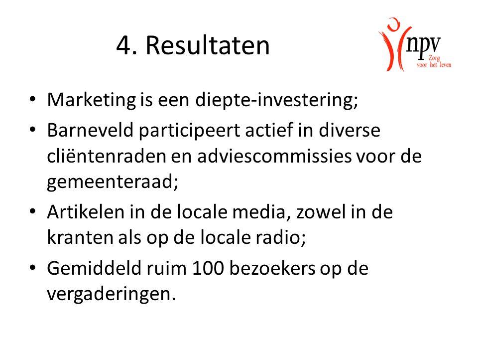 4. Resultaten Marketing is een diepte-investering; Barneveld participeert actief in diverse cliëntenraden en adviescommissies voor de gemeenteraad; Ar