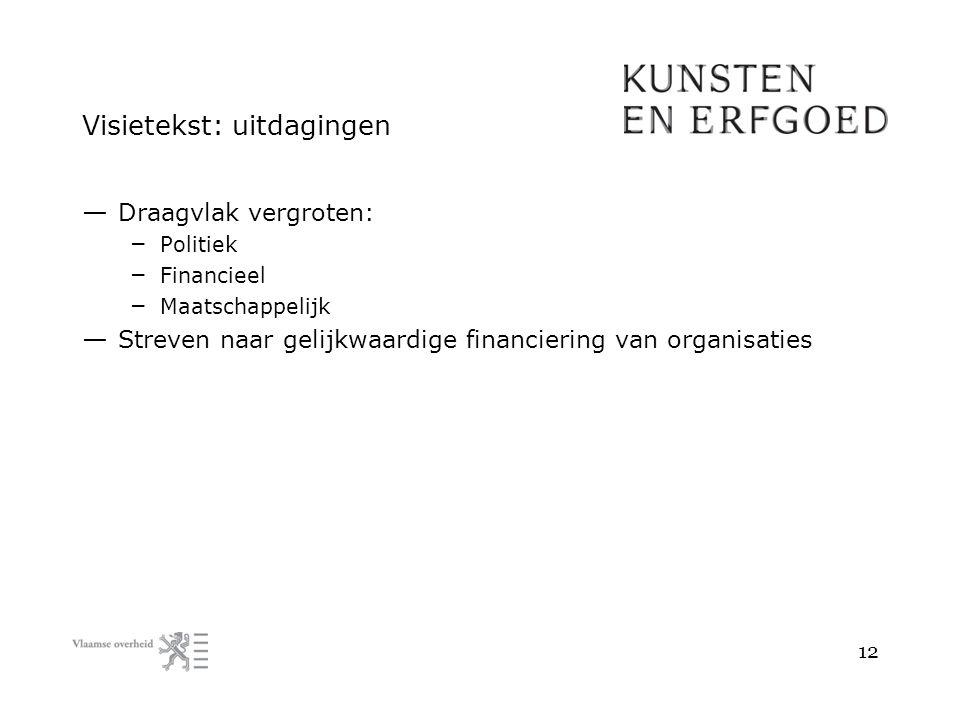 Visietekst: uitdagingen — Draagvlak vergroten: – Politiek – Financieel – Maatschappelijk — Streven naar gelijkwaardige financiering van organisaties 1