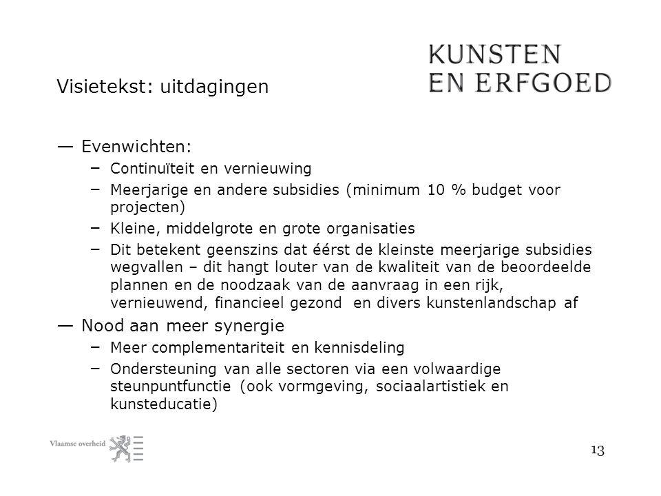 Visietekst: uitdagingen — Evenwichten: – Continuïteit en vernieuwing – Meerjarige en andere subsidies (minimum 10 % budget voor projecten) – Kleine, m
