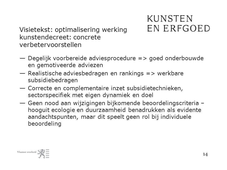 Visietekst: optimalisering werking kunstendecreet: concrete verbetervoorstellen — Degelijk voorbereide adviesprocedure => goed onderbouwde en gemotive