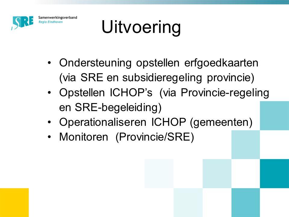 Uitvoering Ondersteuning opstellen erfgoedkaarten (via SRE en subsidieregeling provincie) Opstellen ICHOP's (via Provincie-regeling en SRE-begeleiding) Operationaliseren ICHOP (gemeenten) Monitoren (Provincie/SRE)