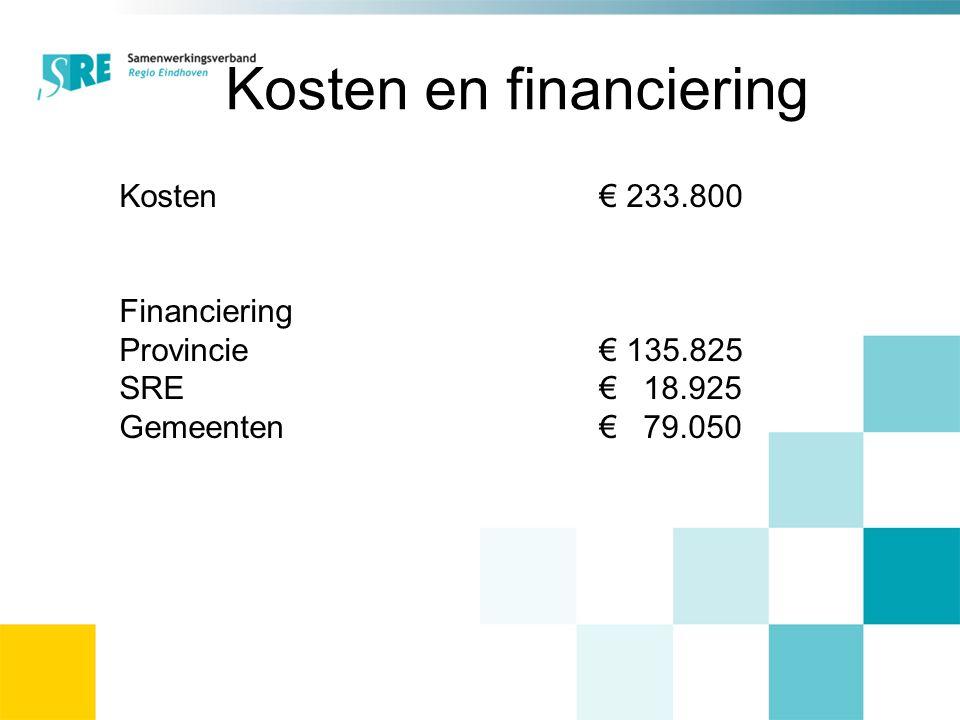 Kosten en financiering Kosten € 233.800 Financiering Provincie€ 135.825 SRE€ 18.925 Gemeenten€ 79.050
