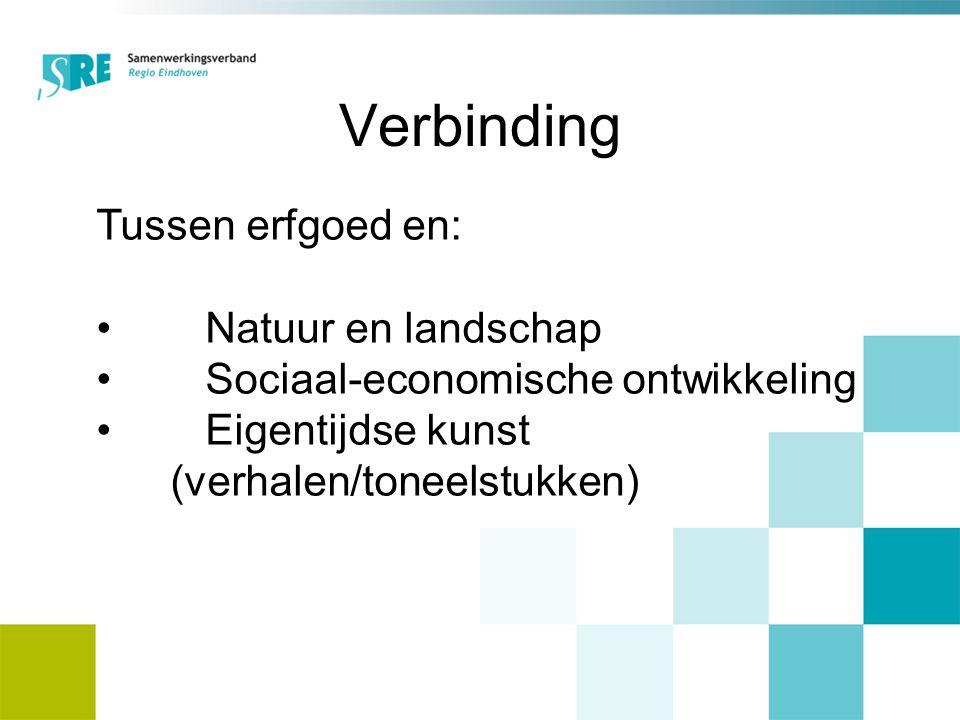 Tussen erfgoed en: Natuur en landschap Sociaal-economische ontwikkeling Eigentijdse kunst (verhalen/toneelstukken) Verbinding