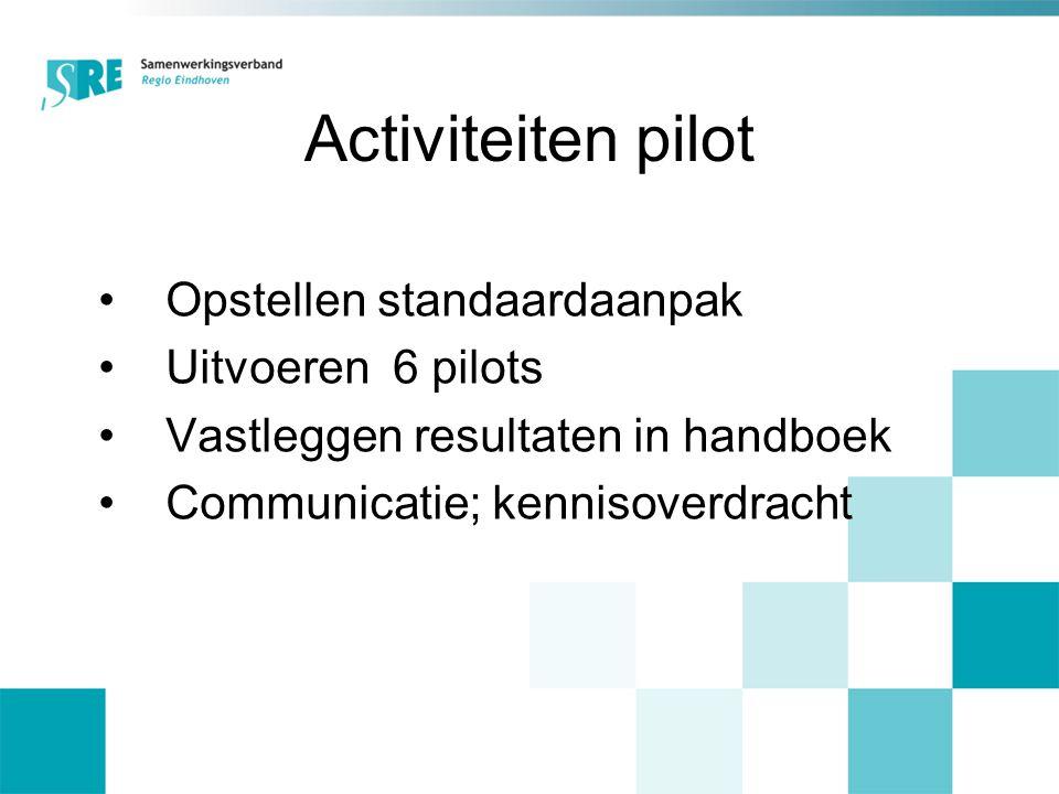 Activiteiten pilot Opstellen standaardaanpak Uitvoeren 6 pilots Vastleggen resultaten in handboek Communicatie; kennisoverdracht