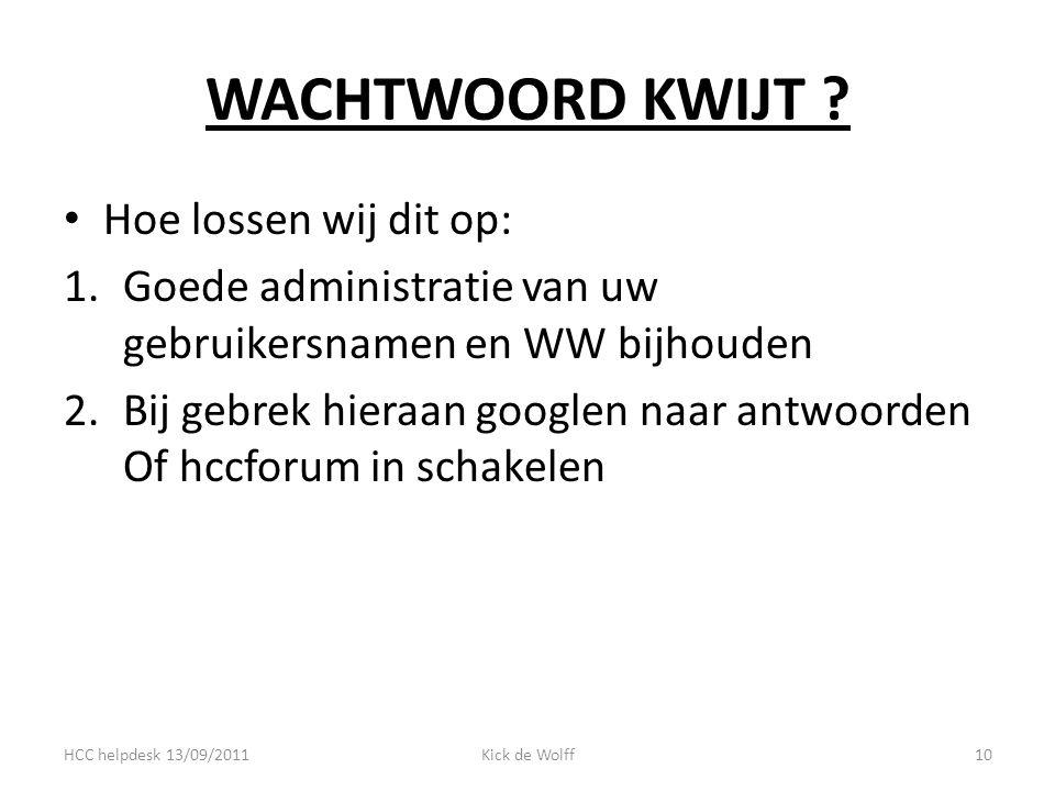 WACHTWOORD KWIJT .