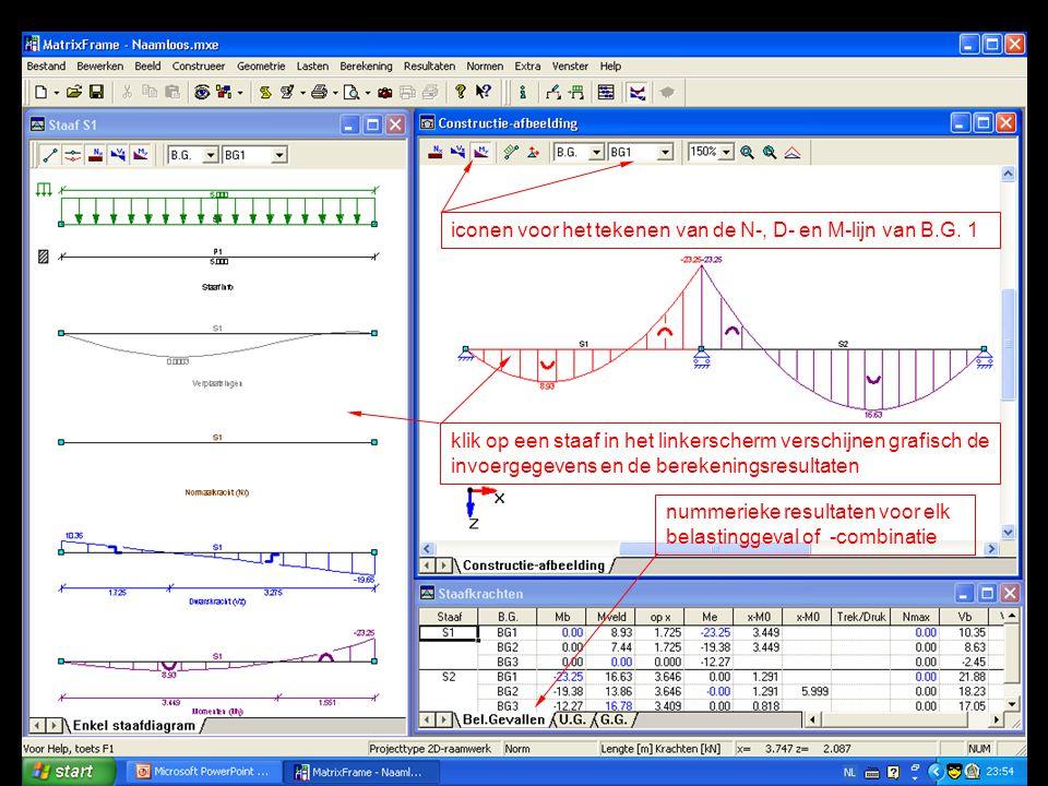 iconen voor het tekenen van de N-, D- en M-lijn van B.G. 1 klik op een staaf in het linkerscherm verschijnen grafisch de invoergegevens en de berekeni