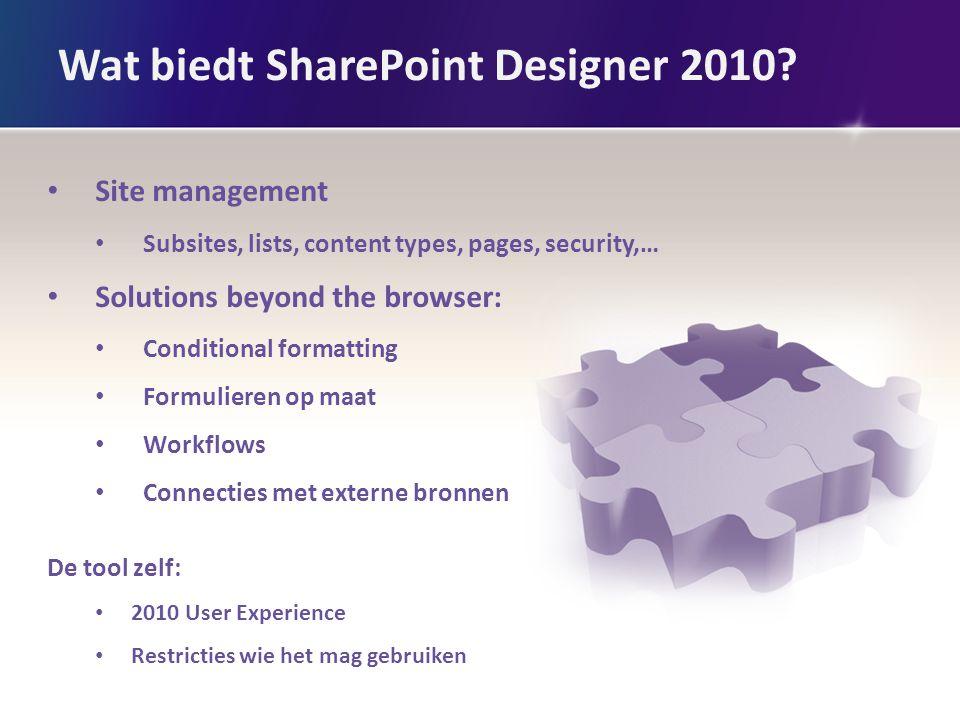 Wat biedt SharePoint Designer 2010.