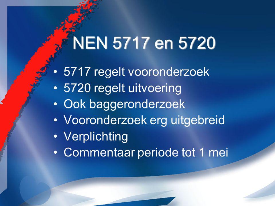 NEN 5717 en 5720 5717 regelt vooronderzoek 5720 regelt uitvoering Ook baggeronderzoek Vooronderzoek erg uitgebreid Verplichting Commentaar periode tot 1 mei