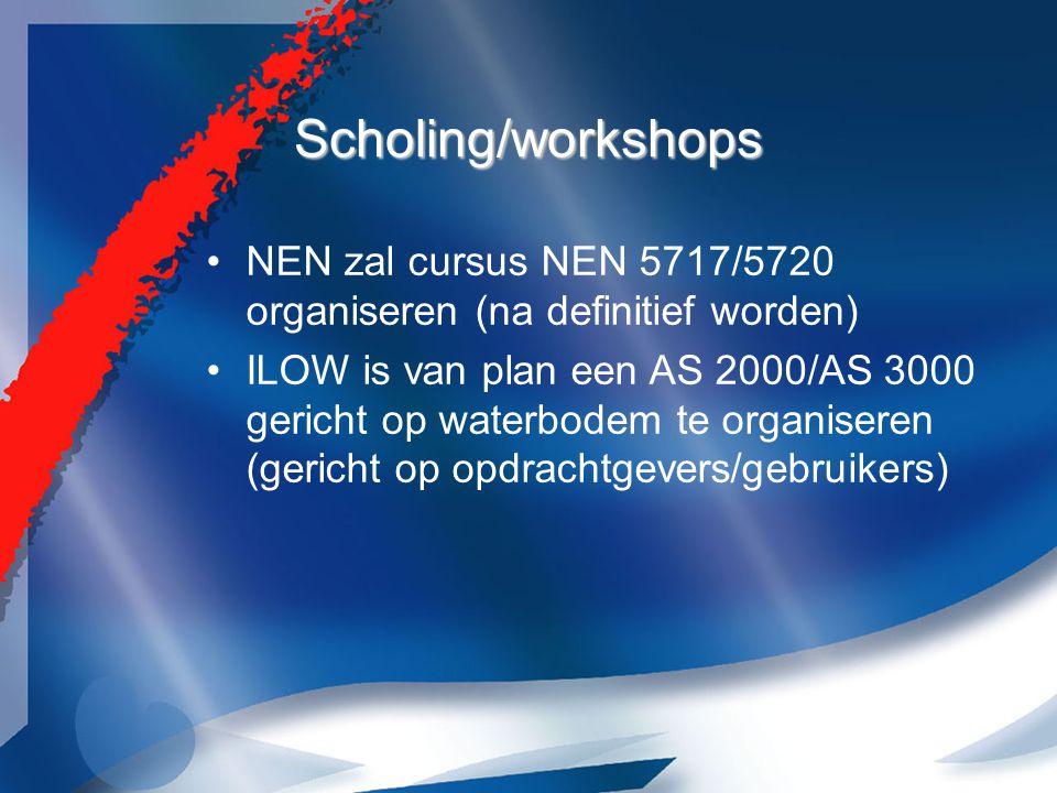 Scholing/workshops NEN zal cursus NEN 5717/5720 organiseren (na definitief worden) ILOW is van plan een AS 2000/AS 3000 gericht op waterbodem te organiseren (gericht op opdrachtgevers/gebruikers)