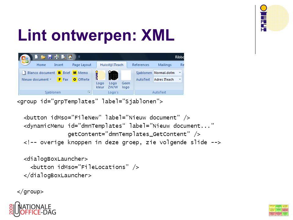 Onderwerpen De eerste stapjes Het Lint aanpassen Lint ontwerpen: XML XML  addin  Lint Lint en VBA: Callbacks Lint en plaatjes Dynamische keuzelijsten Dynamische menu's Hoe nu verder