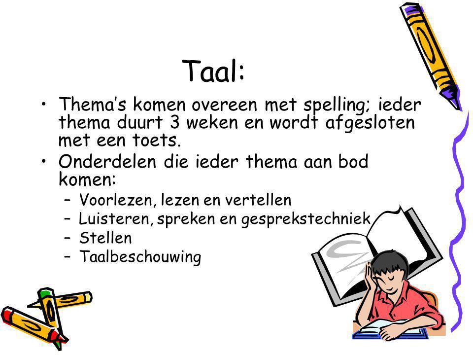 Taal: Thema's komen overeen met spelling; ieder thema duurt 3 weken en wordt afgesloten met een toets.