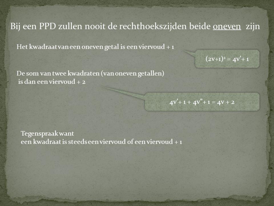 """Tegenspraak want een kwadraat is steeds een viervoud of een viervoud + 1 (2v+1) 2 = 4v'+ 1 4v'+ 1 + 4v""""+ 1 = 4v + 2 Bij een PPD zullen nooit de rechth"""