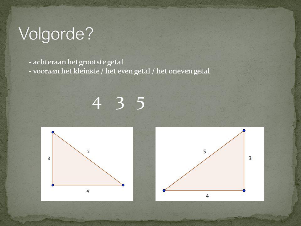 345 - achteraan het grootste getal - vooraan het kleinste / het even getal / het oneven getal