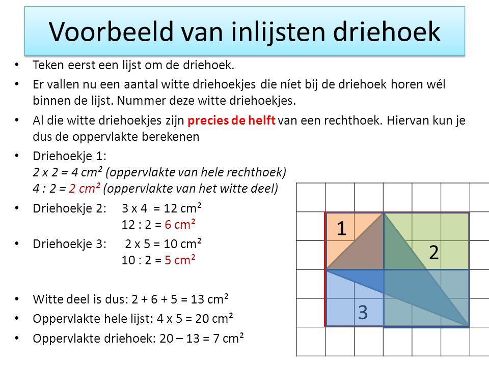 Voorbeeld van inlijsten driehoek Teken eerst een lijst om de driehoek. Er vallen nu een aantal witte driehoekjes die níet bij de driehoek horen wél bi