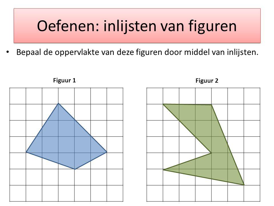 Oefenen: inlijsten van figuren Bepaal de oppervlakte van deze figuren door middel van inlijsten. Figuur 1 Figuur 2
