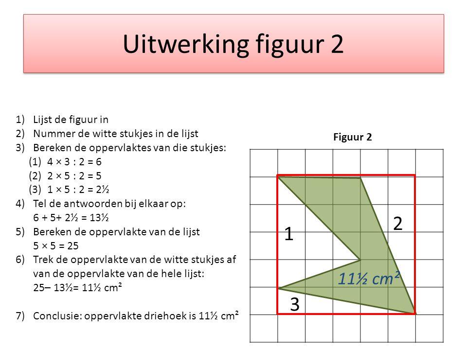 Uitwerking figuur 2 Figuur 2 1)Lijst de figuur in 2)Nummer de witte stukjes in de lijst 3)Bereken de oppervlaktes van die stukjes: (1) 4 × 3 : 2 = 6 (