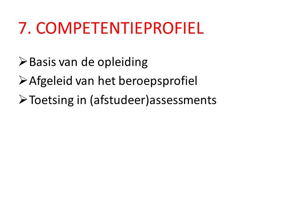 7. COMPETENTIEPROFIEL  Basis van de opleiding  Afgeleid van het beroepsprofiel  Toetsing in (afstudeer)assessments