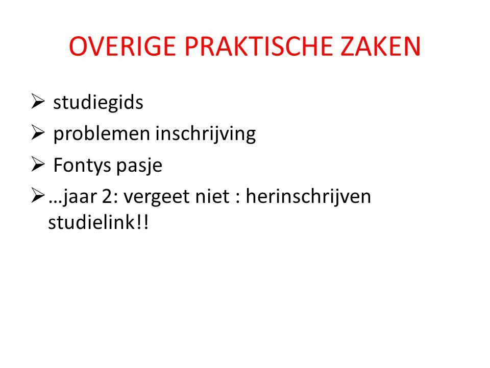 OVERIGE PRAKTISCHE ZAKEN  studiegids  problemen inschrijving  Fontys pasje  …jaar 2: vergeet niet : herinschrijven studielink!!