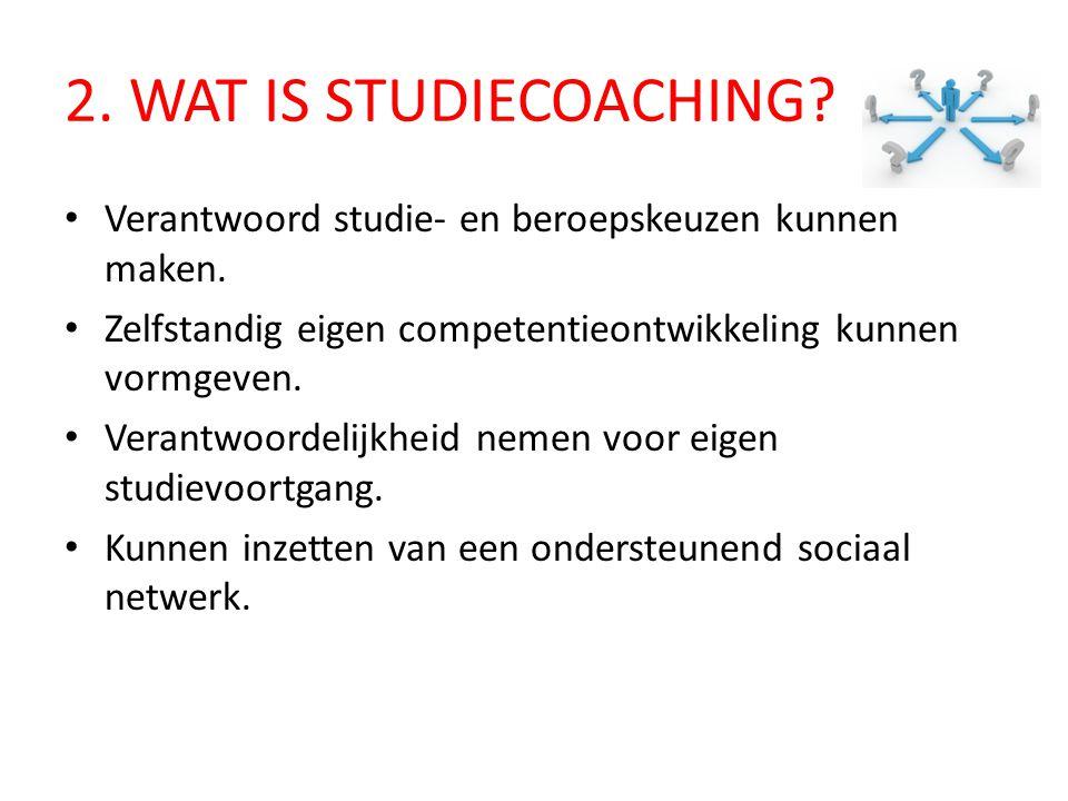 2.WAT IS STUDIECOACHING. Verantwoord studie- en beroepskeuzen kunnen maken.