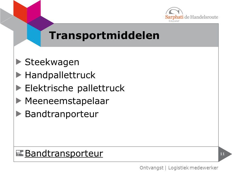 Steekwagen Handpallettruck Elektrische pallettruck Meeneemstapelaar Bandtranporteur 11 Ontvangst | Logistiek medewerker Transportmiddelen Bandtranspor