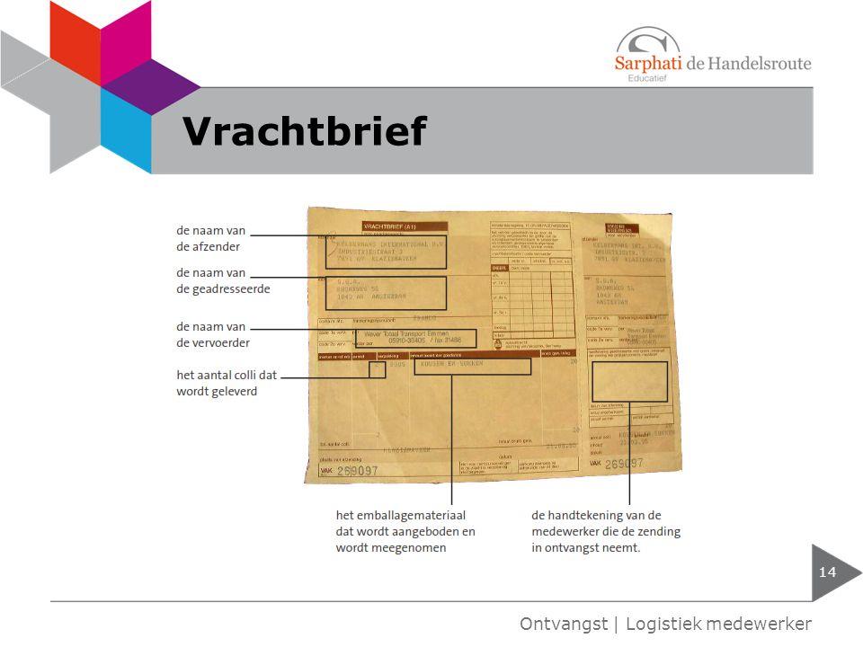 Vrachtbrief 14 Ontvangst | Logistiek medewerker