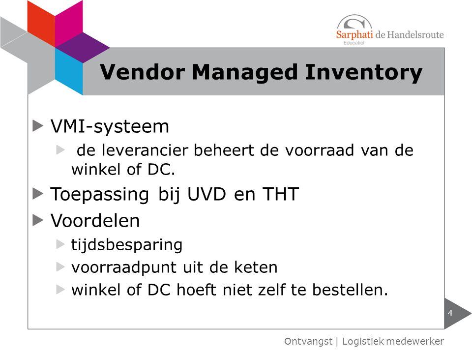 VMI-systeem de leverancier beheert de voorraad van de winkel of DC. Toepassing bij UVD en THT Voordelen tijdsbesparing voorraadpunt uit de keten winke