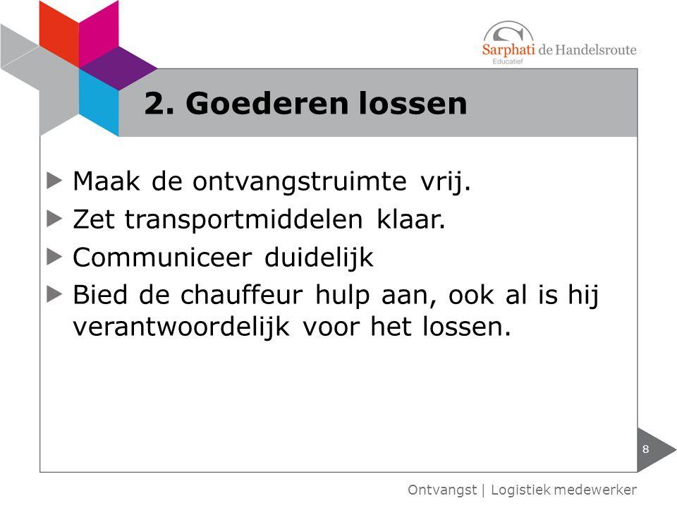 Laadperron verhoging van magazijnvloer Laadkuil verlaging van wegdek Ontvangstdock binnen lossen.