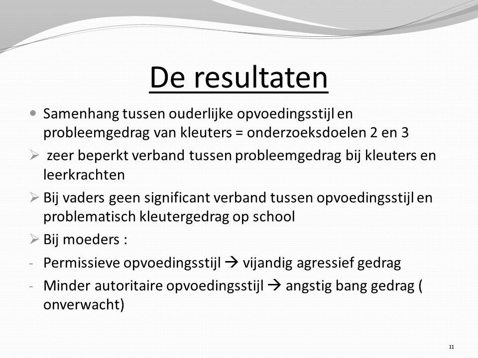 De resultaten Samenhang tussen ouderlijke opvoedingsstijl en probleemgedrag van kleuters = onderzoeksdoelen 2 en 3  zeer beperkt verband tussen probl