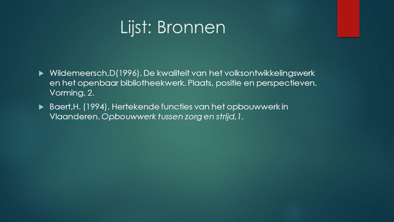 Lijst: Organisatie(s)  K.U Leuven