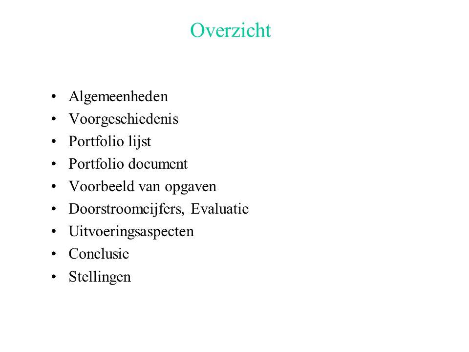 Overzicht Algemeenheden Voorgeschiedenis Portfolio lijst Portfolio document Voorbeeld van opgaven Doorstroomcijfers, Evaluatie Uitvoeringsaspecten Conclusie Stellingen
