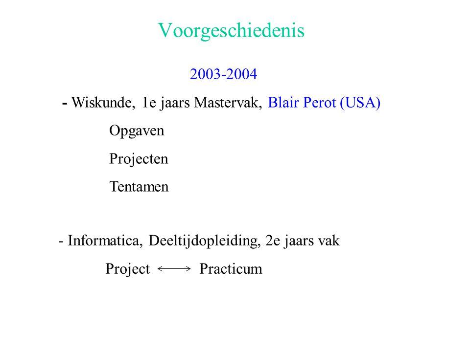 2004-2005 Informatica, 3e jaars Bachelor Numerieke Wiskunde en Simulatie I Voortgezette Analyse en Differentiaalvergelijkingen Invoering na consultatie onderwijscommissie Facultatief Experiment met evaluatie Schools