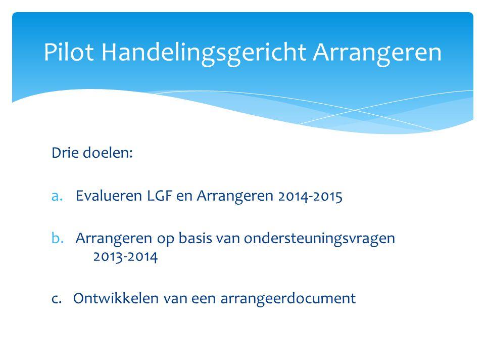 Drie doelen: a.Evalueren LGF en Arrangeren 2014-2015 b.Arrangeren op basis van ondersteuningsvragen 2013-2014 c.